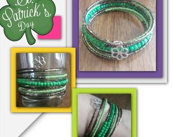 St. Patrick inspired beaded spring bracelet