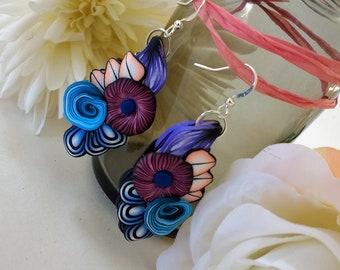 Colourful flower earrings; floral ear drops