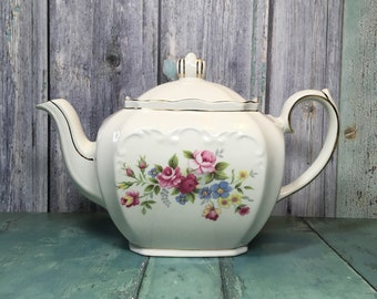Sadler Cube Teapot Vintage Sadler Teapot Floral Teapot Collectible Teapot Vintage Tableware 1940u0027s Teapot & Tableware | Etsy