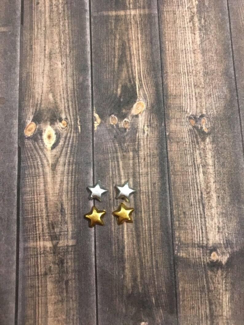 dainty galaxy for kids mini earrings chrome and copper tiny studded stars Silver and gold mini star earrings