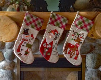 personalized christmas stocking snowman with jingle bells country christmas decor embroider christmas stocking - Country Christmas Stockings