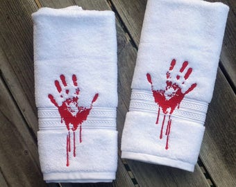 zombie hand towel halloween hand towel bloody hand towels bathroom hand towel zombie kitchen towel - Bathroom Hand Towels