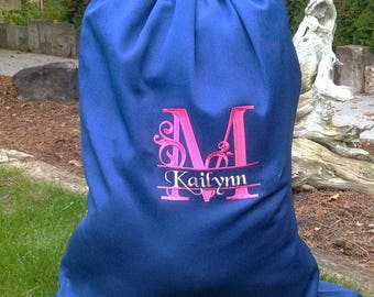 Monogrammed laundry bag, Personalized blue laundry bag, gift idea, college laundry bag, large laundry bag, school laundry
