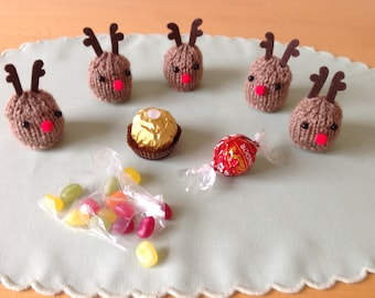 Cute hand knitted reindeer to cover a Ferrero Rocher, Lindt Lindor or any small sweets.