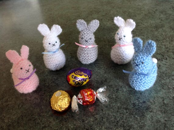 KNITTING PATTERN Easter Bunny and Chick Choc Gift Holders 10cms fits Ferrero