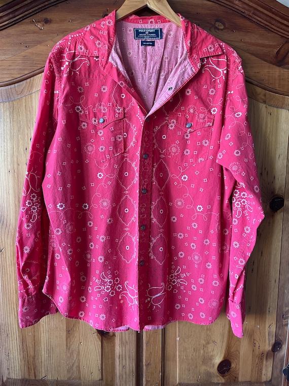 Vintage classic Ralph Lauren red bandana shirt - image 2