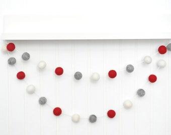 Holiday Decoration, Christmas Garland, Red and Gray Pom Pom Garland, Felt Ball Garland, Bunting, Banner, Tree Decor, Felt Balls - Red, Gray