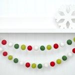 Christmas Decoration, Holiday Party Decor, Felt Ball Garland, Christmas Tree Decor, Christmas Bunting, Banner, Party Decor, Pom Pom Garland