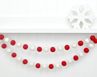 christmas decor red and white decor red and white felt ball garland christmas pom pom garland holiday garland holiday bunting felt ball
