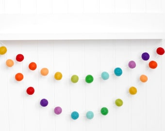 ZOONAI Felt Ball Garland Pom Pom String Hanging Decor Garland Banner Baby Kids Bedroom Nursery Party Wall Decorations Accessories Hanging Pendant Colorful