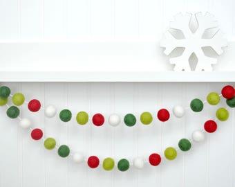 christmas garland christmas banner christmas bunting holiday decor christmas decor red and green felt ball garland tree decoration pom - Felt Christmas Garland