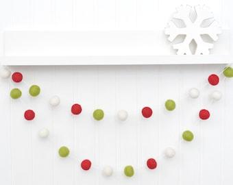 Christmas tree decor, Christmas felt ball garland, Christmas pom pom garland, Christmas banner, Holiday felt ball garland, Christmas sign