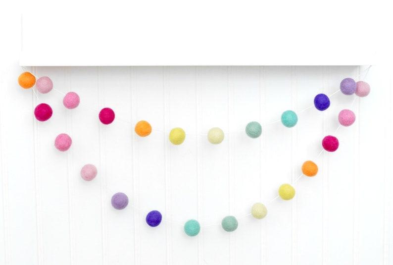 Rainbow Nursery Decor Rainbow Garland Rainbow Birthday Banner Pom Pom Garland Rainbow Felt Ball Garland Rainbow Birthday Party Baby