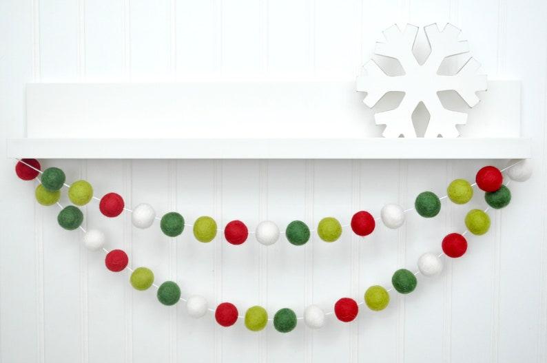 Christmas Decoration Holiday Party Decor Felt Ball Garland image 0