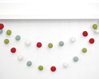 Holiday Felt Ball Garland, Christmas Pom Pom Garland, Christmas Tree - Red Green and Mint Felt Balls