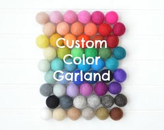 Felt Ball Garland, Pom Pom Garland, Felt Garland, Felt Bunting, Wool Felt Balls, Custom Felt Ball Garland, Nursery Decor, Baby Shower Decor