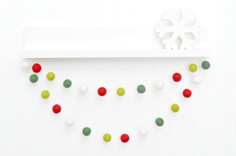 Christmas Decoration Holiday Party Decor Felt Ball Garland image 1
