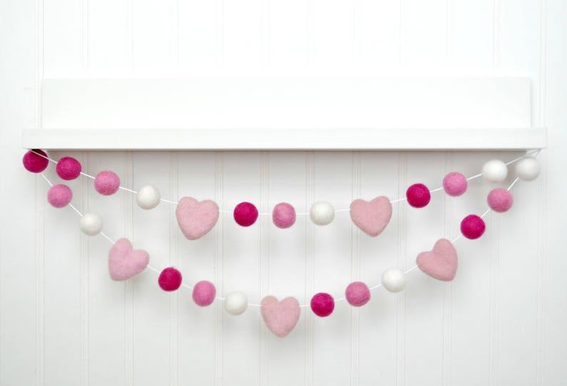 Felt Ball Garland Valentines Pom Pom Garland Valentines Felt image 0