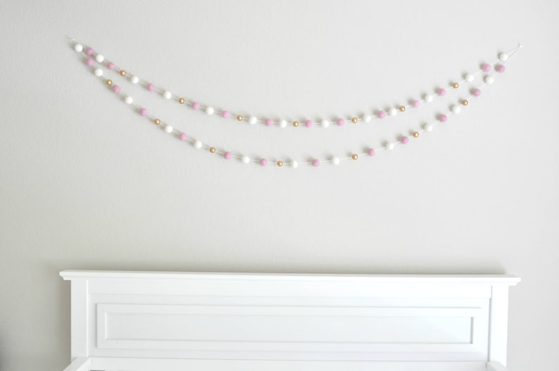 Gold and Pink Felt Ball Garland Pom Pink Gold Baby Shower Decor Pink Nursery Garland Pink and Gold Bunting Pink and Gold Nursery Decor