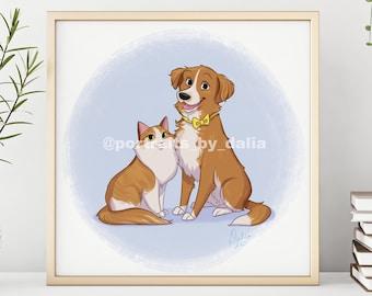 Pet Portrait Custom, Pet Illustration, Cartoon Pet Portrait, Digital Pet Portrait Gift, Pet Drawing, Dog Portrait