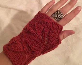Red lacy fingerless gloves