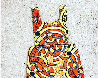 Baby girl romper. Orange African print. Orange and Yellow. Wax print outfit