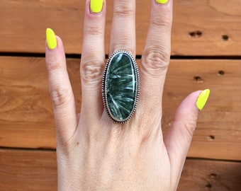 Long Seraphinite Sterling Silver Ring. Handmade Jewelry.