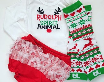 ee88d5da4b6 Rudolph is my Spirit Animal Baby Girl Christmas outfit with bloomers and  leg warmers