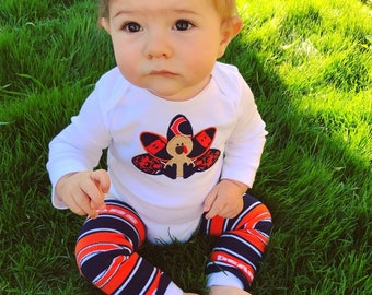 4ef7d983a12 Chicago Bears Thanksgiving Turkey Football baby outfit with onesie and leg  warmers