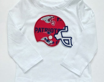 2d9d2a8f8e8 New England Patriots Football Helmet Long Sleeve Shirt for Baby or Toddler