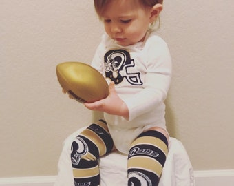 69fac2b4071 Los Angeles Rams Football Helmet Outfit with Leg Warmers- Short or Long  Sleeve for Baby or Toddler