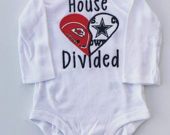 House divided Super Bowl Kansas City Chiefs vs Tampa Bay Buccaneers onesie