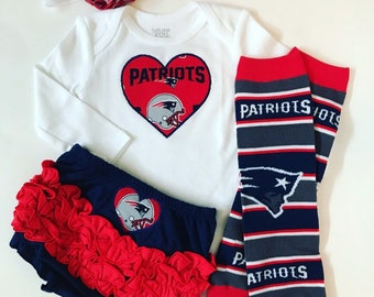 418edcb91ad Baby Girl New England Patriots Heart Outfit- with matching legwarmers,  bloomers and headband