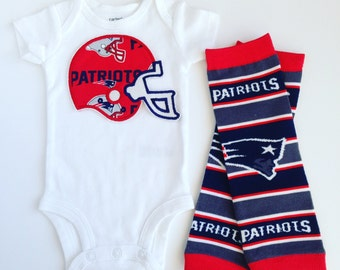 New England Patriots Football Helmet Outfit with Leg Warmers- Short or Long Sleeve for Baby or Toddler