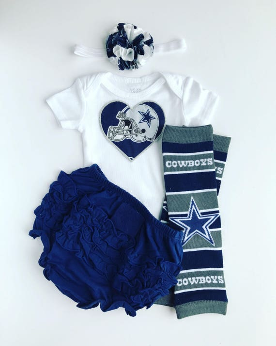 3e6a253ed Baby Girl Dallas Cowboys Heart Outfit with matching
