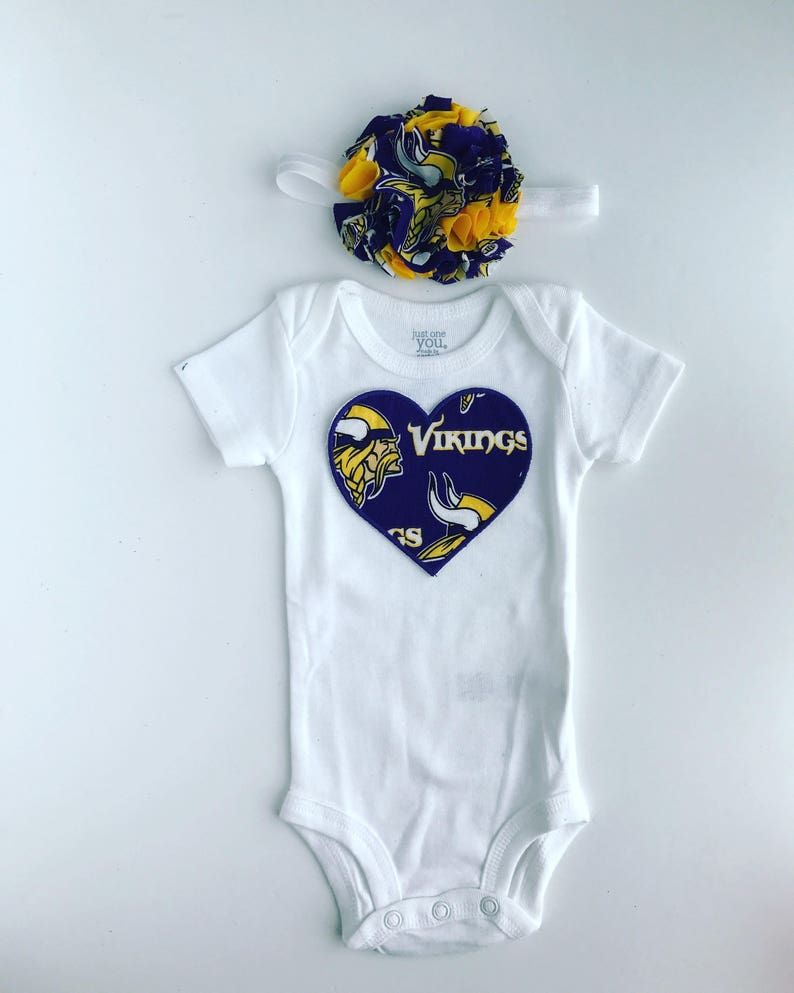 f0a3fa6f4 Baby Girl Minnesota Vikings bodysuit with Headband Outfit | Etsy