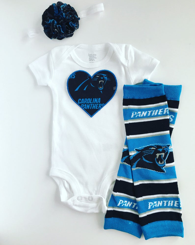 2836e9fe Baby Girl Carolina Panthers Heart Outfit- with matching legwarmers and  headband