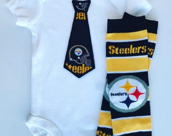 Baby Boy Pittsburgh Steelers Tie Outfit- with matching legwarmers