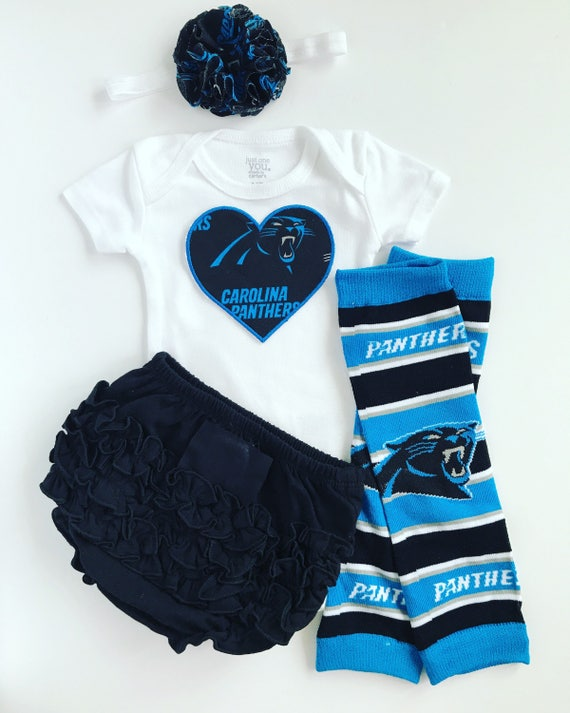 Baby Girl Carolina Panthers Heart Outfit with matching  083780848