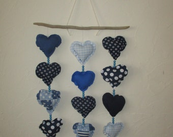 15 hearts hanging mobile with Driftwood