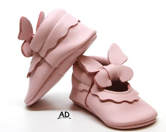 Pink and Orange Butterfly Soft Sole Baby Booties Toddler Girl Baby Girl Shoes