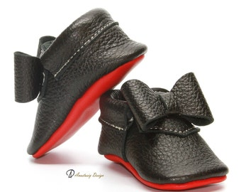 782e3171d7bc Baby Moccasins Leather Louboutin Inspired Black Baby Moccasins