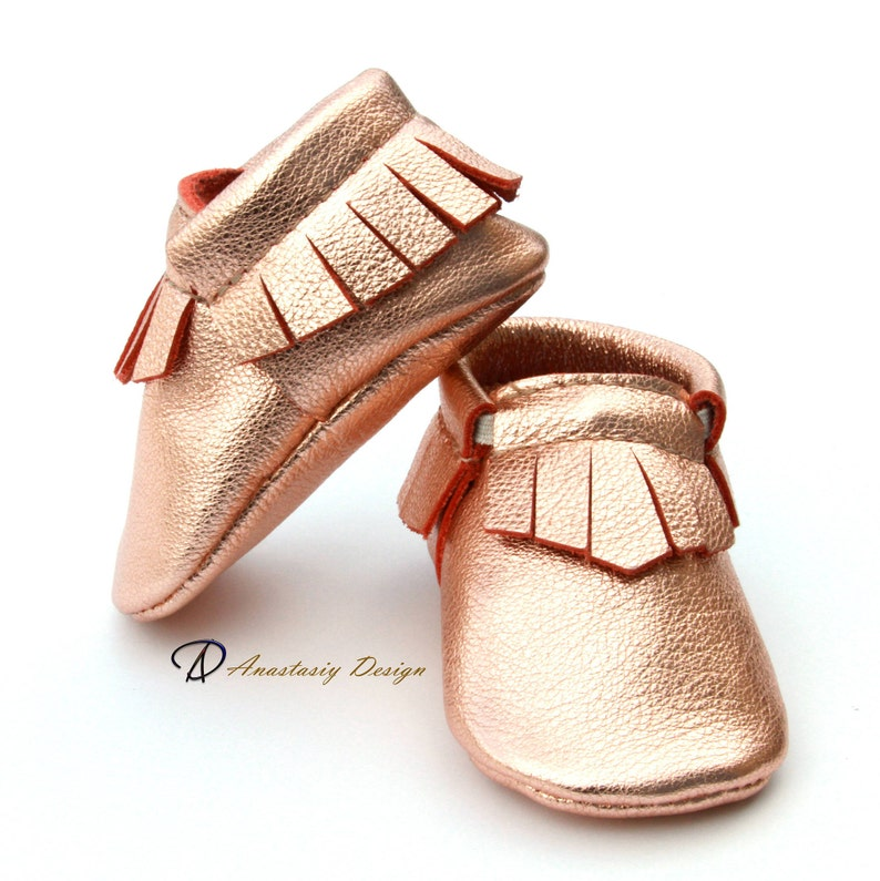 4a8949d2ebb99 Baby Moccasins Leather Baby Moccasins, Rose Gold Fringed Leather Baby  Moccasins, Baby Girl Moccasins, Toddler Moccasins, Baby Girl Shoes