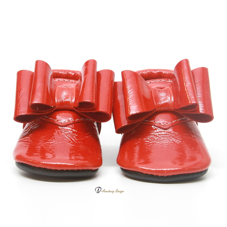 515416b6559 Glossy Red Baby Shoes with Black Sole Genuine Leather Baby