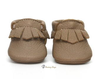 Taupe Brown  Fringe Leather Baby Moccasins, Baby Boy Moccasins Toddler Moccasins Baby boy shoes