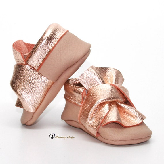 84526f1af8e3c Baby Moccasins Leather Baby Moccasins, Blush and Rose Gold Twisted Bow  Leather Baby Moccasins Baby Girl Moccasins Rose Gold Baby Girl Shoes