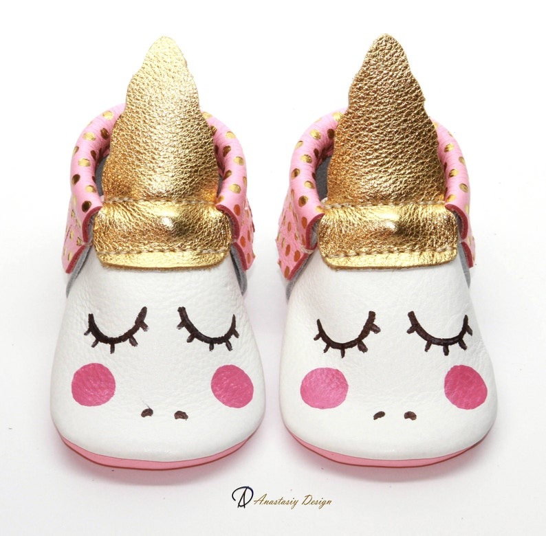 04d9edf059e1f Unicorn Baby Moccasins, Gold and Pink Polka Dot Fringe Leather Baby  Moccasins, Baby Girl Shoes, Unicorn Baby Shoes, Baby Shower Gift