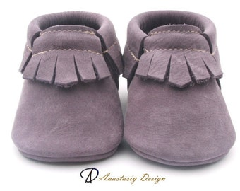 Lavender Nubuck Baby Moccasins, Baby Boy Moccasins, Toddler Moccasins, Baby boy shoes Fringed Moccs