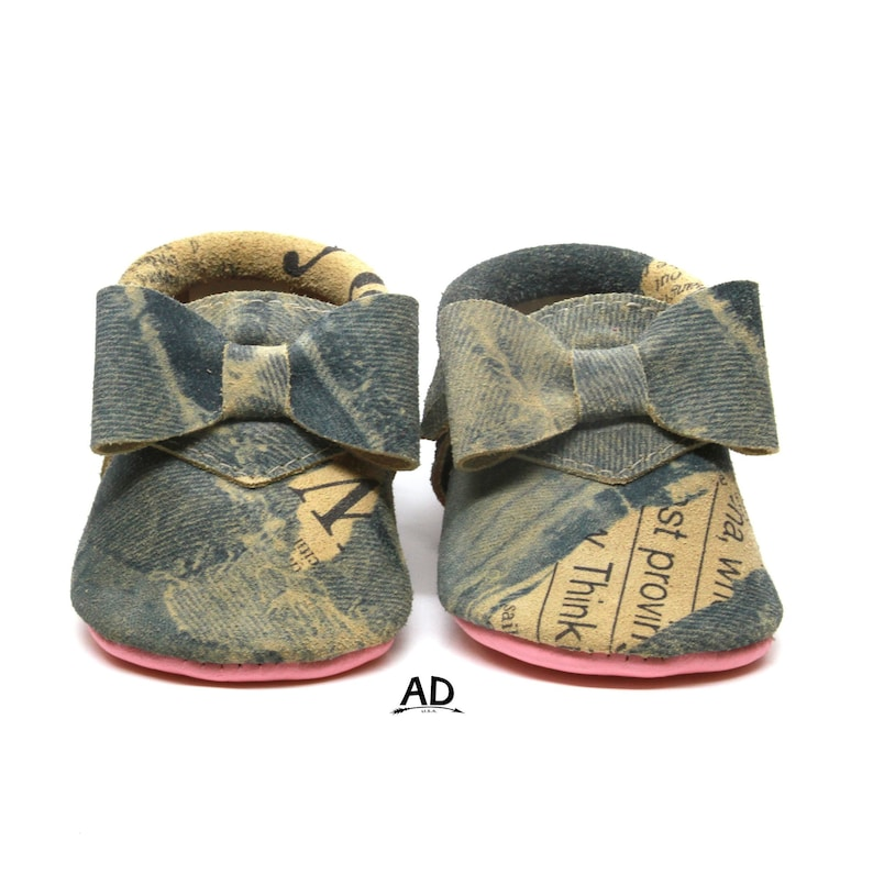 40e4d98120546 Baby Moccasins, Denim Leather Baby Moccasins Baby Girl Moccasins Pink  Bottom Baby Girl Shoes Princess Shoes Toast Suede