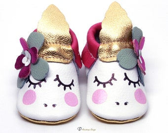 Unicorn Baby Moccasins,Hot Pink and Gold Leather Baby Moccasins, Baby Girl Shoes, Unicorn Baby Shoes, Princess Shoes, Baby Shower Gift